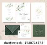 set of card template with herbs ... | Shutterstock .eps vector #1438716875