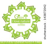 home. go green. save world.... | Shutterstock .eps vector #143872042