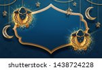 sheeps on chains and crescent ... | Shutterstock . vector #1438724228