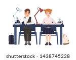 primary school boy and girl in...   Shutterstock . vector #1438745228