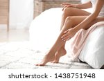 young woman with beautiful legs ... | Shutterstock . vector #1438751948