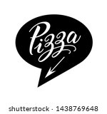 pizza logo in bubble cloud with ... | Shutterstock .eps vector #1438769648
