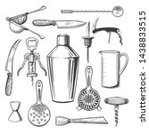 bar equipment tools. cocktail... | Shutterstock .eps vector #1438833515