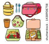school lunch. cartoon set ... | Shutterstock .eps vector #1438908758