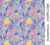 seamless pattern with seaweeds... | Shutterstock .eps vector #1438911488