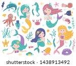 set of cute mermaids and sea... | Shutterstock .eps vector #1438913492
