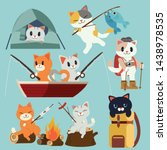 Stock vector the collection of camping cats pack set for go to the forest picnic trip trip of camping and 1438978535