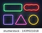 neon light frame. retro banner... | Shutterstock . vector #1439021018