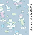 seamless pattern with angels | Shutterstock .eps vector #14390233