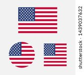 set of usa flags in different... | Shutterstock . vector #1439037632