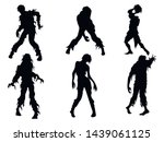 Set Of Zombie Silhouettes. A...