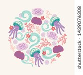 ocean greeting card with waves  ... | Shutterstock .eps vector #1439076308