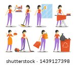 housewife clean the house set ... | Shutterstock .eps vector #1439127398