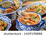 Stock photo tom yam kung or tom yum soup is thai hot spicy soup shrimp or prawn with lemon grass lemon 1439198888