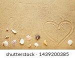 Seashells And Heart Drawn On...