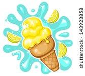 vector lemon ice cream | Shutterstock .eps vector #143923858