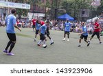 NEW YORK - JUNE 26: Charity soccer game for The Sixth Steve Nash Foundation Showdown at Sarah D. Roosevelt Park on June 26, 2013 in New York City. - stock photo