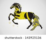 ornate vector horse in a jump... | Shutterstock .eps vector #143925136