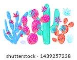 cactus succulent wild set... | Shutterstock .eps vector #1439257238