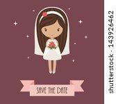 romantic cartoon bride holding... | Shutterstock .eps vector #143926462