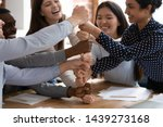 overjoyed diverse multiracial... | Shutterstock . vector #1439273168