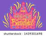 golden drawn crown with bright... | Shutterstock .eps vector #1439301698