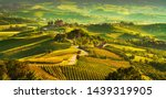 Langhe vineyards sunset panorama, Grinzane Cavour, Unesco Site, Piedmont, Northern Italy Europe.