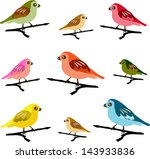 colorful vector spring birds | Shutterstock .eps vector #143933836