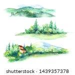 hand drawn fragments of rural... | Shutterstock . vector #1439357378