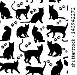 Stock vector seamless cats background 143942272