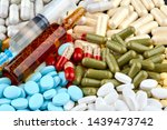 syringe  brown ampoule and many ... | Shutterstock . vector #1439473742