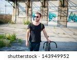hipster modern stylish blonde... | Shutterstock . vector #143949952