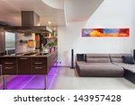kitchen counter and sofa in a... | Shutterstock . vector #143957428