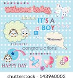 welcome baby boy card with cute ... | Shutterstock .eps vector #143960002