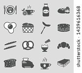 breakfast food icons. sticker... | Shutterstock .eps vector #1439616368