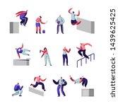 teenagers making parkour tricks ... | Shutterstock .eps vector #1439625425
