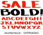 bold handwritten alphabet in...   Shutterstock .eps vector #143966062