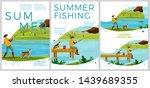 vector summer fishing posters... | Shutterstock .eps vector #1439689355