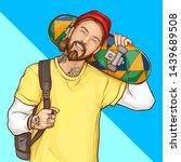 skater boy  hipster holding... | Shutterstock .eps vector #1439689508