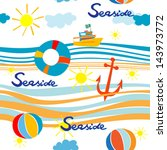 seaside pattern with boat  life ... | Shutterstock .eps vector #143973772