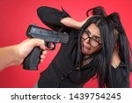 shocked lady shouting with fear ... | Shutterstock . vector #1439754245