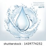 transparent vector water splash ... | Shutterstock .eps vector #1439774252