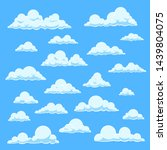 Cartoon White Clouds. Blue Sky...