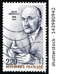 Small photo of FRANCE - CIRCA 1988: a stamp printed in the France shows Jean Monnet, French Proponent of Unification of Europe, First Honorary Citizen of Europe, circa 1988