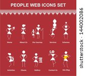 Tribal Painting Web icons. Warli Painting