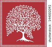 indian tribal painting. warli... | Shutterstock .eps vector #144002092