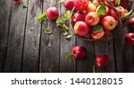 fresh red apples with green... | Shutterstock . vector #1440128015