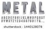 realistic metal font. shiny... | Shutterstock .eps vector #1440128078