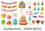 cartoon birthday party... | Shutterstock .eps vector #1440128132