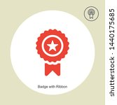 badge with ribbon icon in...